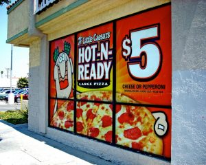 Restaurant Signs promotional window vinyl 300x240